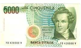 5000 lire Arkivbild