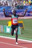 5000 metres men winner kenya2. MONCTON, CANADA - JULY 24: David Kiprotich Bett of Kenya celebrates as he nears the finish line in winning the men's 5000 metres Stock Photos