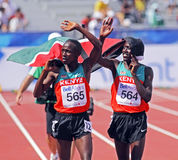 5000 metres men winner kenya3. MONCTON, CANADA - JULY 24: Kenya's David Kiprotich Bett (564 - gold) and John Kipkoech (silver) do a victory lap after the 5000 Stock Photo