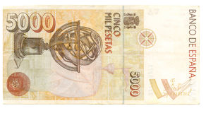 5000 peseta bill of Spain Royalty Free Stock Photo