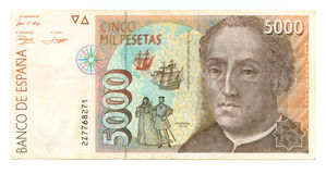 5000 peseta bill of Spain Royalty Free Stock Photos