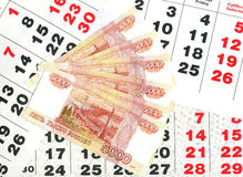 5000 rubles och kalendern täcker. Fotografering för Bildbyråer