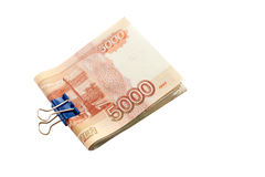 5000 rubles, ryska pengar, bills fästte togethe ihop Arkivfoton