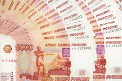 5000 Russian Roubles background. Royalty Free Stock Images