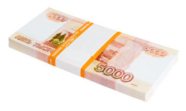 5000 Russian rubles batch. A batch of 5000 Russian rubles notes, over white royalty free stock image