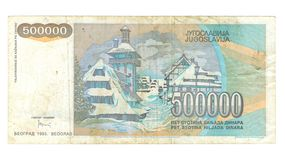 500000 dinar bill of Yugoslavia Stock Images