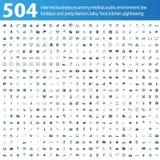 504 μπλε/γκρίζα εικονίδια διανυσματική απεικόνιση