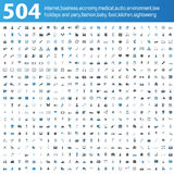 504 blau/graue Ikonen Lizenzfreie Stockfotos