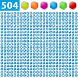 504 glanzende pictogrammen Royalty-vrije Stock Foto
