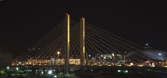 509 Cable-stay bridge. View of SR 509 bridge at night Royalty Free Stock Photos