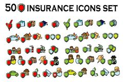 50icons set,vector art collection. 50 insurance icons set, all types, big vector art collection royalty free illustration