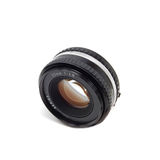 50mm Camera Lens. A 50mm camera lens isolated on white Stock Photos