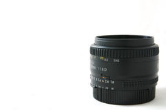 50mm f1.8 Prime Lens. Side view of a 50mm prime lens Stock Photo