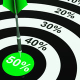 50Percent On Dartboard Showing Price Clearances Or Cheap Product. S stock illustration