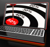 50Percent On Laptop Showing Big Promotions. Or Cheap Products stock illustration