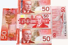 50s canadian dollar. A 50s canadian dollars bills stock photography