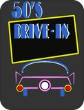 50s drive in on black Royalty Free Stock Photo