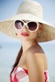 50s ha designato la ragazza della spiaggia Immagini Stock Libere da Diritti