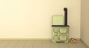 50s kitchen. One 3d render of a 50s style kitchen Stock Images