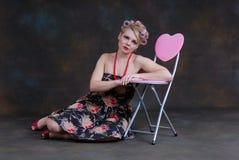 50s kobieta styl relaksujący retro Fotografia Stock