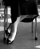 50s Retro Fashion Legs. This shot is taken in a style to suggest the era of the 50s, or retro, vintage by today's standards. A woman's shoes are classy and the Stock Images