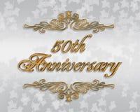 50th årsdaginbjudanbröllop Arkivbild