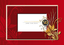 50th anniversary. Editable illustration of a red and golden congratulations card for 50th anniversary, jubilee, wedding or birthday Stock Photos