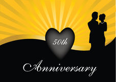 50th anniversary. With heart and gold rays stock illustration
