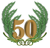 50th Anniversary. 3 Dimensional Illustration composition for background design element for 50th Anniversary with ornamental leaves Royalty Free Stock Photo