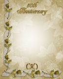50th Anniversary Border Roses. Image and Illustration composition for 50th Wedding anniversary invitation, border, frame or Background with copy space Royalty Free Stock Photos
