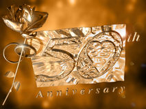 50th Anniversary card. Two wedding rings and a golden rose with a number 50 on a golden tablet royalty free illustration