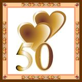 50th Anniversary card. Two gold hearts, number 50 on a white background in a decorative frame Stock Photo