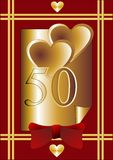 50th Anniversary card. Card with hearts, number 50, red bow. Gold sheet, saturated red background Stock Photo