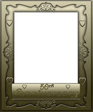 50th Anniversary Frame Border. Gold 50th Wedding Anniversay Frame with heart design Royalty Free Stock Photos