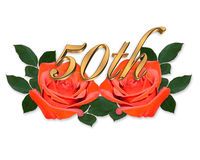 50th Anniversary graphic red roses. Image and illustration composition of red roses and gold number 50th for anniversary card or invitation Royalty Free Stock Photography