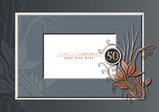 50th anniversary grey and copper. Editable illustration of a grey and copper congratulations card for 50th anniversary, jubilee, wedding or birthday Stock Image