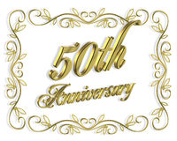 50th Anniversary Invitation 3D Illustration Royalty Free Stock Photos