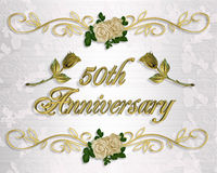 50th Anniversary Invitation. Image and Illustration composition for 50th Wedding anniversary invitation, card or decoration Stock Image