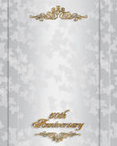 50th Anniversary Invitation. Ivy on elegant white satin with gold accents for 50th wedding anniversary party invitation with gold text, copy space Stock Photography