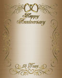 50th Anniversary Invitation Border. Illustration composition 3D, design for 50th wedding anniversary elegant  background, border or formal invitation with golden Royalty Free Stock Photos