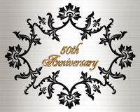 50th anniversary invitation card. Illustration, black ornamental design on white satin-like background with 3D gold text for 50th wedding anniversary party royalty free illustration