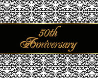50th anniversary invitation card. Illustration, black and white background with 3D gold text for 50th wedding anniversary party invitation or greeting card stock illustration