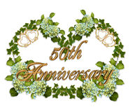 50th Anniversary Ivy and Hydrangea. Ivy, Hydrangea flowers image and illustration composition for background, border, frame, 50th wedding anniversary invitation Royalty Free Stock Images