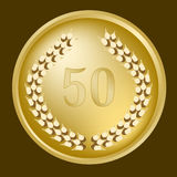50th anniversary laurel wreath. On a gold medallion Royalty Free Stock Image