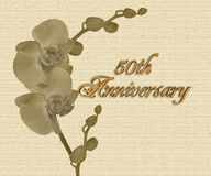 50th Anniversary orchids  invitation. 50th Wedding Anniversary sepia orchids party invitation or greeting card on textured background with 3D gold text Stock Images