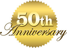 50th Anniversary Seal/eps. Illustration of a golden seal with the inscription...50th Anniversary Stock Photography