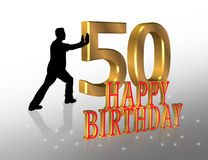 50th Birthday Invitation Card. 3D Illustration of man pushing numbers 50 for Birthday card, invitation or background Royalty Free Stock Photography