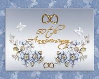 50th cartão do aniversário de casamento Fotografia de Stock Royalty Free