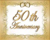 50th Cartão do aniversário de casamento Foto de Stock Royalty Free