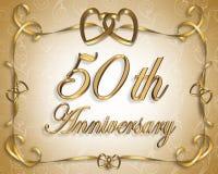 50th Cartão do aniversário de casamento Imagem de Stock Royalty Free